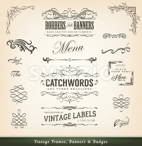 Vintage Calligraphic Frames And Banners Stock Vector