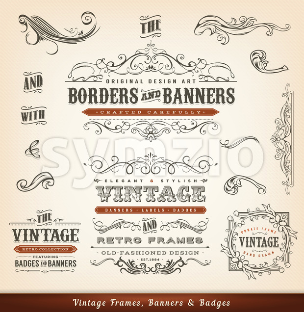 Vintage Calligraphic Frames, Banners And Badges Stock Vector