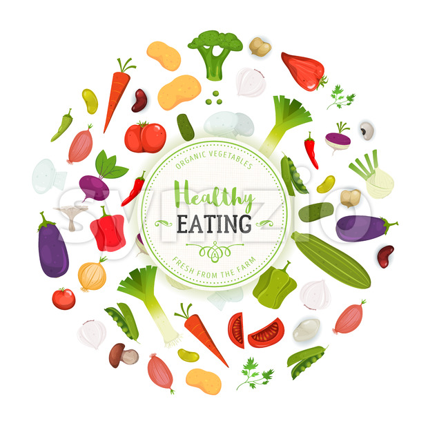 Healthy Eating And Vegetables Background Stock Vector