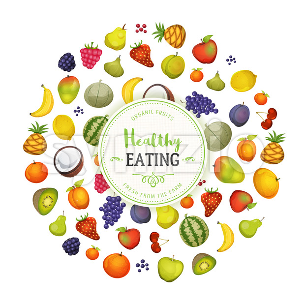 Healthy Eating With Fruits Background Stock Vector