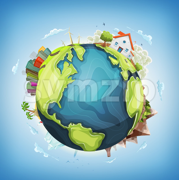 Illustration of a cartoon design earth planet globe with architecture and environment elements, house, city, mountains, volcano, windmills, lighthouse, desert ...