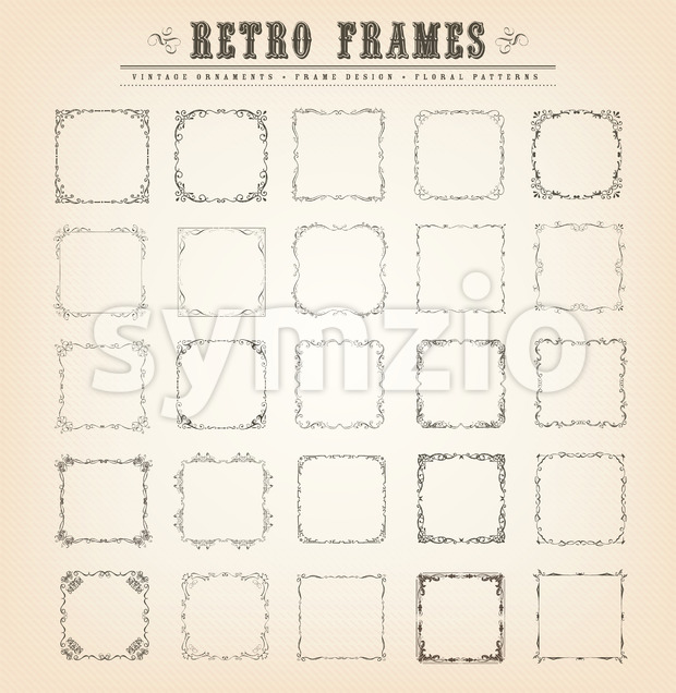 Vintage Old-Fashioned Frames Stock Vector