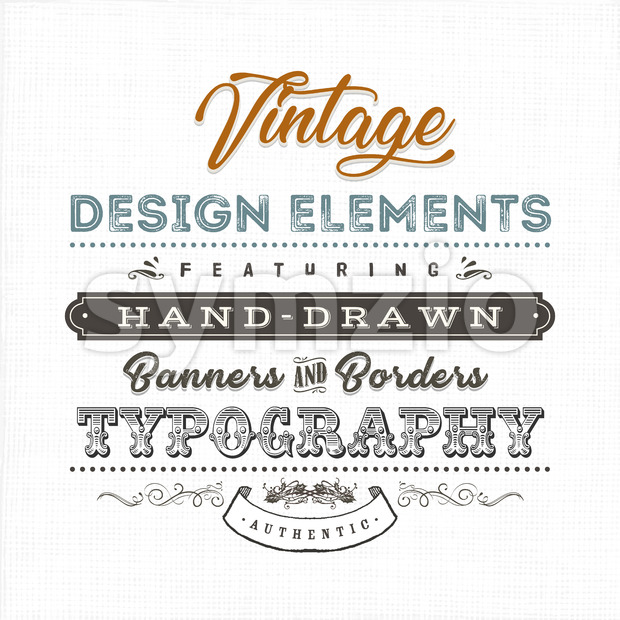 Illustration of a vintage fabric textured background with typographic text, floral shapes and borders, hand-drawned banner and old-fashioned flourish design ...