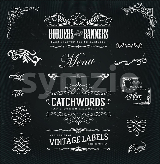 Calligraphic Frames And Banners On Chalkboard Stock Vector