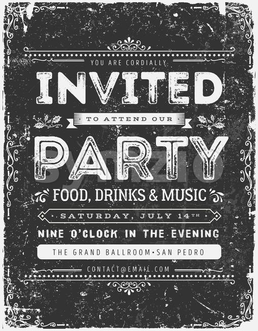 Vintage Invitation Sign On Chalkboard Stock Vector