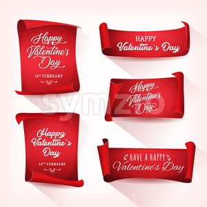 Happy Valentine's Day Banners Stock Vector