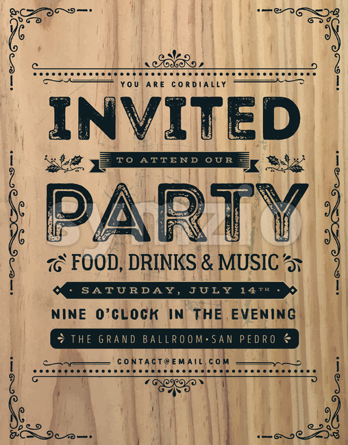 Vintage Party Invitation Sign Stock Vector