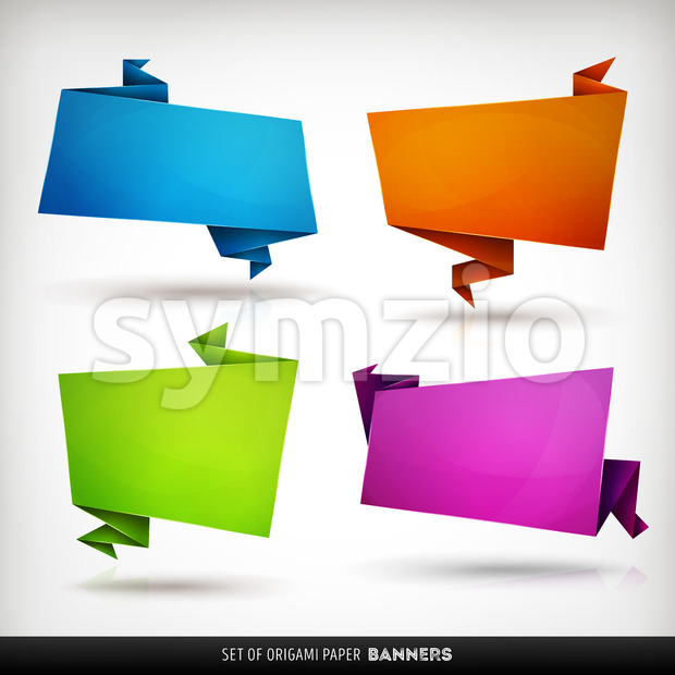 Origami Paper Banners Set Stock Vector