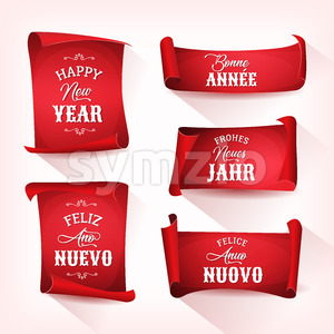 Happy New Year In Multilanguage On Red Parchments Stock Vector