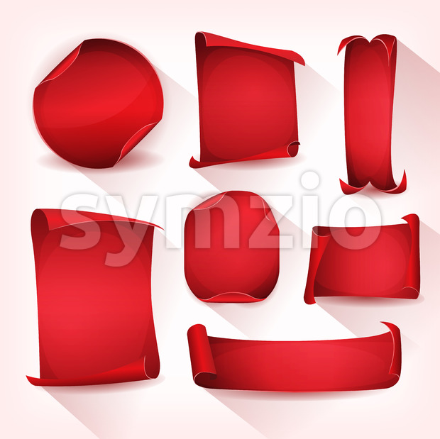 Red Circus Parchment Scroll Set Stock Vector