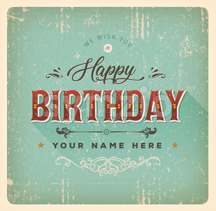 Vintage Happy Birthday Card Stock Vector
