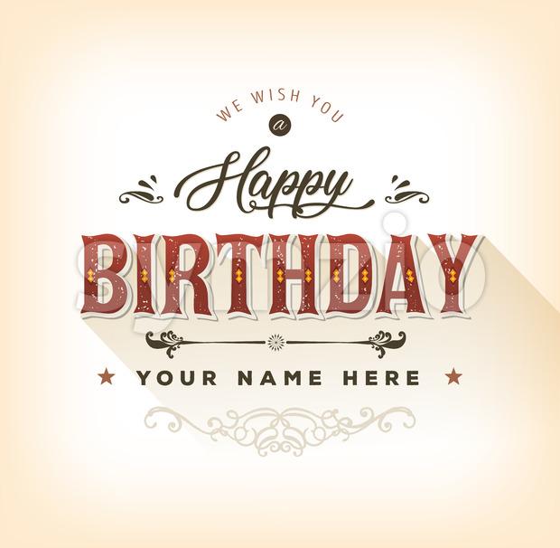 Vintage Happy Birthday Card Stock Vector