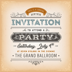 Vintage Invitation To A Party Card Stock Vector