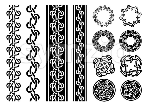 Illustration of a set of black and white celtic seamless lines, borders, rings and ornaments, for frame and tattoos, with ...