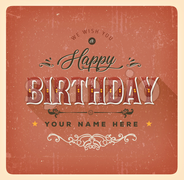 Vintage Red Happy Birthday Card Stock Vector
