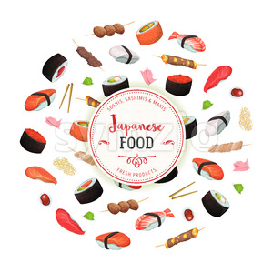 Healthy Japanese Food Background Stock Vector