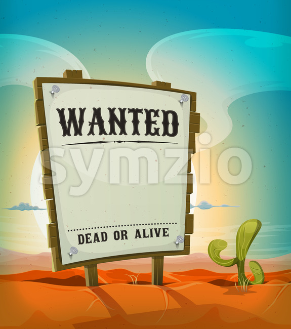 Summer Mexican Desert With Wanted Wood Sign Stock Vector