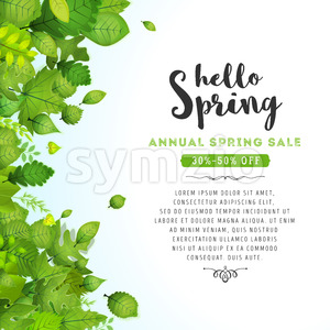 Hello Spring Leaves Background Stock Vector