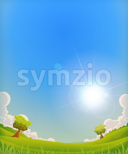 Spring Landscape With Shining Sun Halo Stock Vector