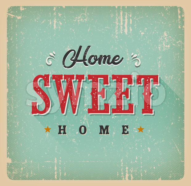 Home Sweet Home Vintage Card Stock Vector