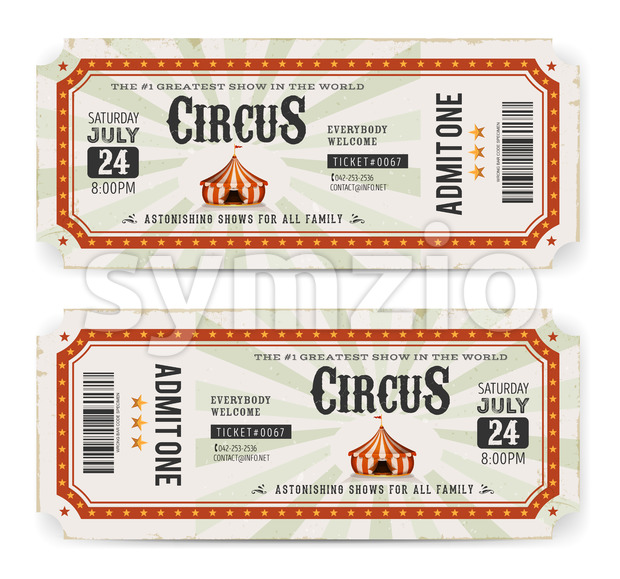 Circus Tickets Front And Back Side Stock Vector
