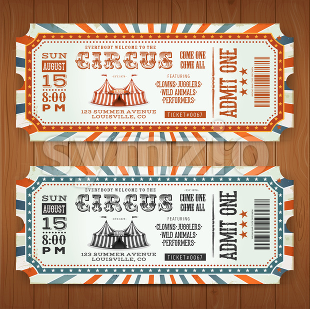 Vintage Retro Circus Tickets Stock Vector