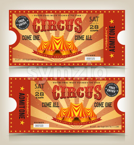 Vintage Circus Entry Tickets Stock Vector
