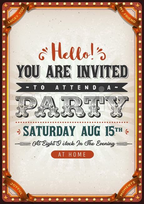 Vintage Party Invitation Card Stock Vector
