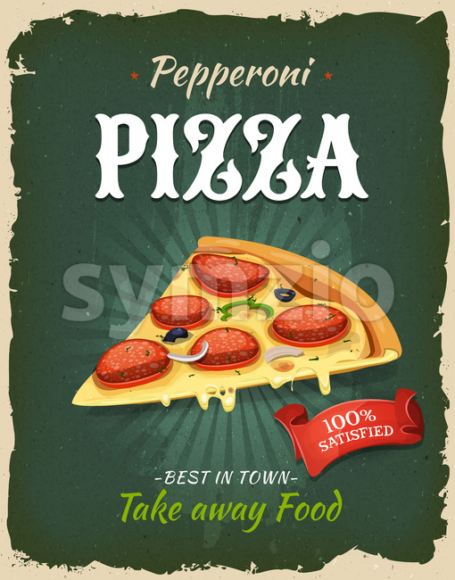 Illustration of a design vintage and grunge textured poster, with italian pizza specialty, for fast food snack and takeaway menu