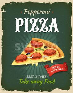 Retro Fast Food Pepperoni Pizza Poster Stock Vector
