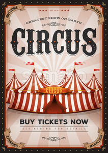 Vintage Western Circus Poster Stock Vector