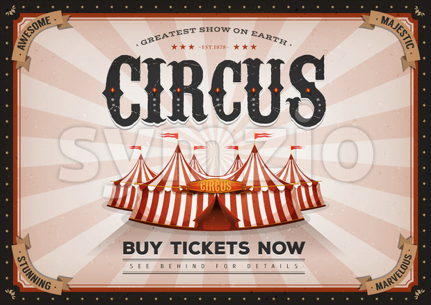 Vintage Horizontal Circus Poster Stock Vector