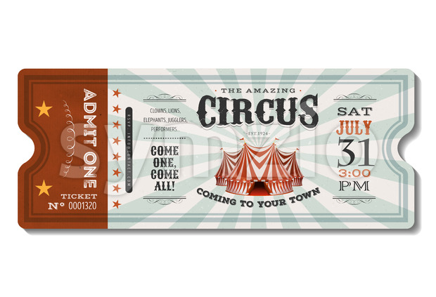 Vintage Circus Ticket Stock Vector