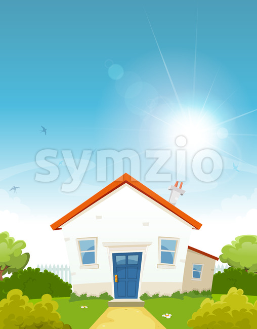 House Inside Spring Garden Stock Vector