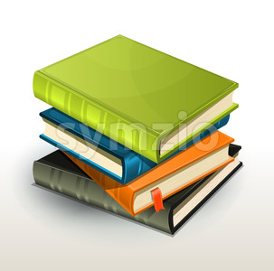 Stack Of Books And Pics Albums Stock Vector