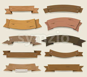 Cartoon Wooden Ribbons And Banners Stock Vector
