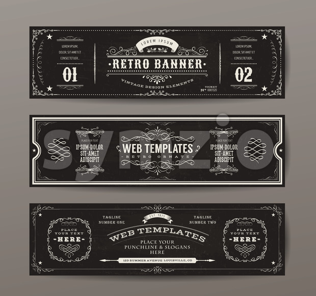 Vintage Web Banners Templates Set Stock Vector