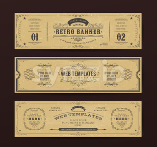 Vintage Website Banners Templates Stock Vector