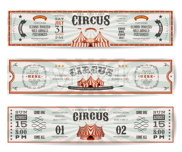 Vintage Circus Website Banners Templates Stock Vector