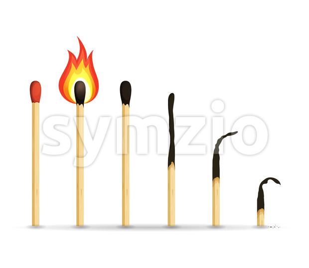 Burning, Lighted And Burnt Matches Stock Vector
