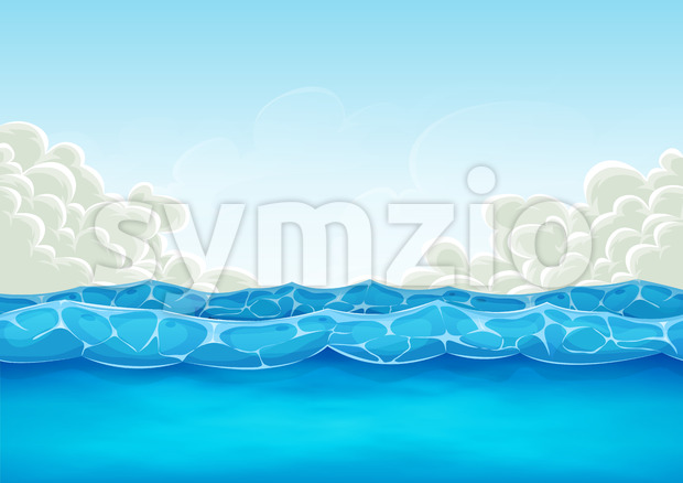 Summer Ocean Background For Ui Game Stock Vector