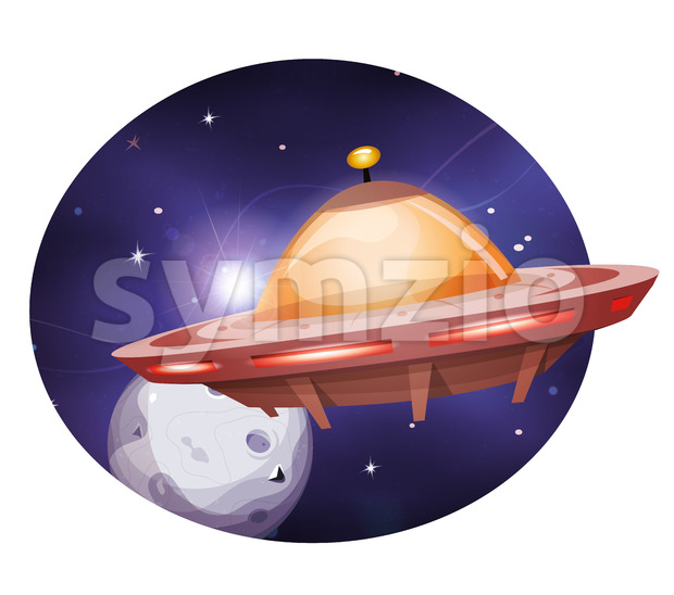 Alien Spaceship Traveling On Space Background Stock Vector