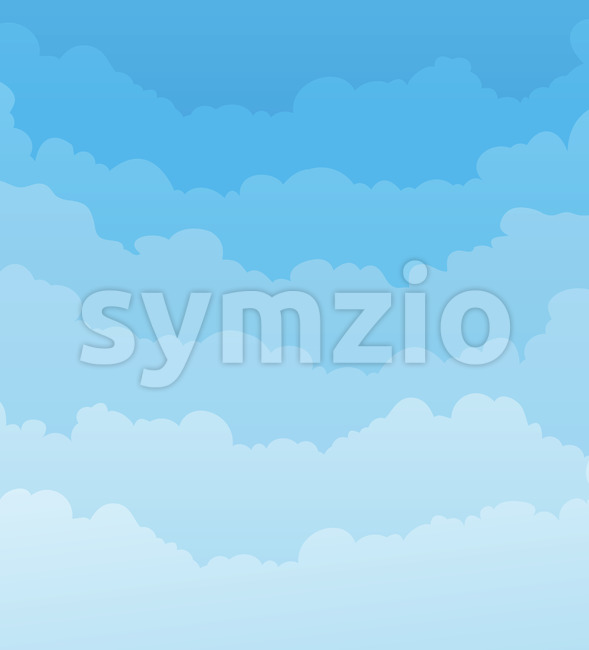 Illustration of a cartoon spring or summer blue sky backdrop with clouds layers