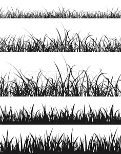 Grass And Lawn Silhouette Set Stock Vector