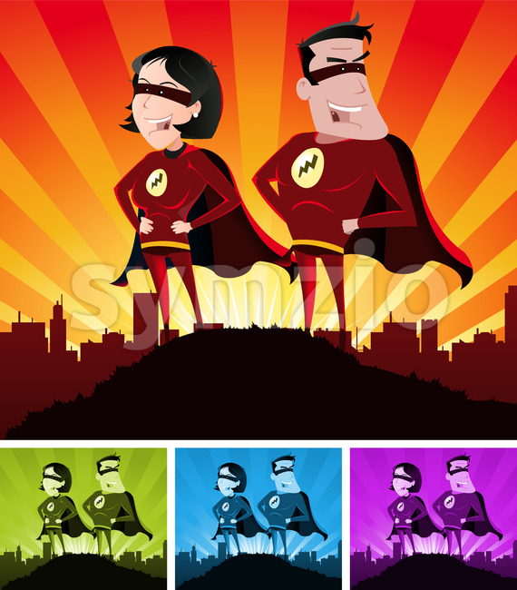 Super Heroes Male And Female Stock Vector
