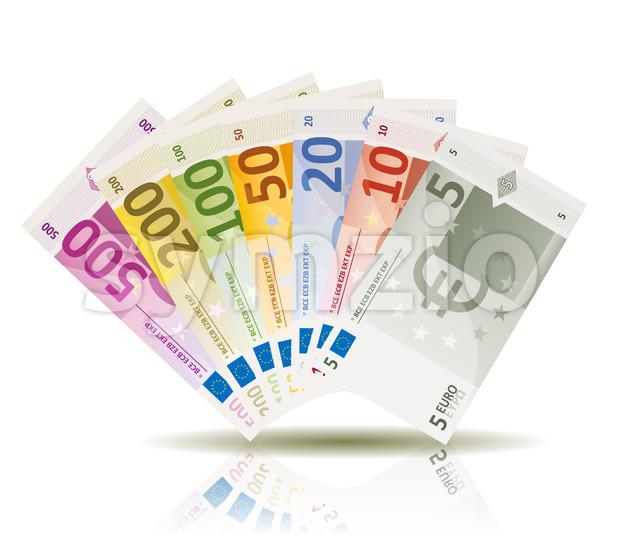 Euro Money Bills Set Stock Vector