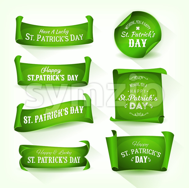 Happy St. Patrick's Day Parchment Scrolls Stock Vector