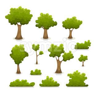 Trees, Hedges And Bush Set Stock Photo