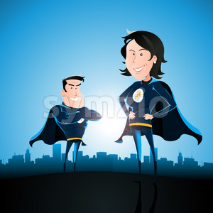 Superhero Couple With Woman And Man Stock Vector