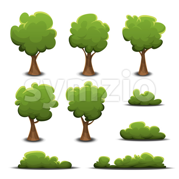 Forest Trees, Bush And Hedges Stock Vector